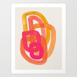 Funky Retro 70' Style Pattern Orange Pink Greindent Striped Circles Mid Century Colorful Pop Art Kunstdrucke