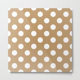 Fallow - brown - White Polka Dots - Pois Pattern Metal Print