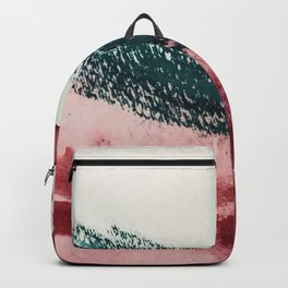 Gelato: a bold, abstract mixed media piece in pinks, purple, and teal Backpack