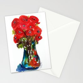 red flowers in vase Stationery Cards
