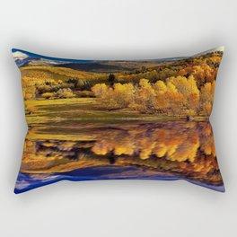Yellow aspen trees reflection on blue lake photograph Rectangular Pillow