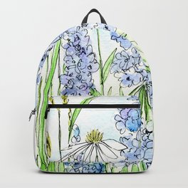 Watercolor Wildflower Garden Dragonfly Blue Flowers Daisies Backpack