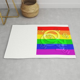 Gay man symbol on gay flag Rug