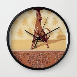 Faisans et renard frise cuivre decoupe Chien chandelier Abeilles semis Renards ecureuils et oiseaux Wall Clock