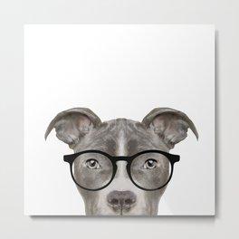 Pit bull with glasses Dog illustration original painting print Metal Print
