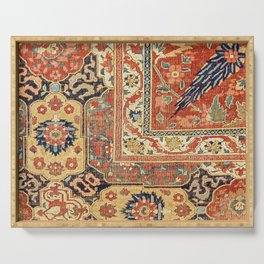 Indian Trellis II // 17th Century Ornate Medallion Red Blue Green Flowers Leaf Colorful Rug Pattern Serving Tray