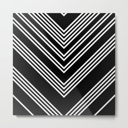 Back and White Lines Minimal Pattern No.3 Metal Print