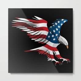Patriotic Flying American Flag Eagle Metal Print