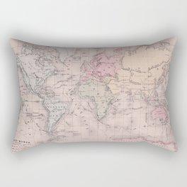 Antique Map of the World circa 1864 Rectangular Pillow