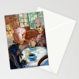Gossipy, Humpback Old Lady's telling old stories to Herbert by Lajos Gulácsy Stationery Cards