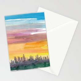 Los Angeles California Skyline in Golden Sunset Mood Stationery Cards