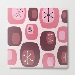 Mid Century Modern Oblongs Pink Metal Print