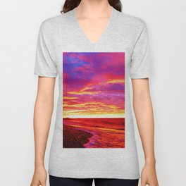 Deep Red Saturated Sunset Unisex V-Neck