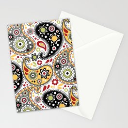 Retro Bohemian Cowboy Paisley Green and Gold Stationery Cards
