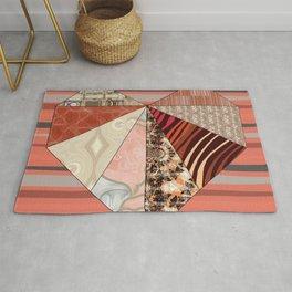 Coral, Orange & Cream Scrapbook Collage Quilted Heart (Tile #6) Rug
