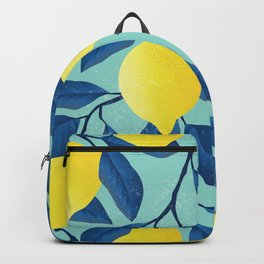 Vintage yellow lemon on the branches with leaves and blue sky hand drawn illustration pattern Backpack