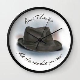 Hat for Leonard Cohen Wall Clock