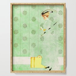 """Coles Phillip's 'Fadeaway Girl' Illustration  """"Yellow Suitcase"""" Serving Tray"""