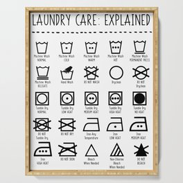 Laundry Care Symbols Explained Serving Tray