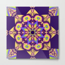 Decorative double star kaleidoscope Metal Print