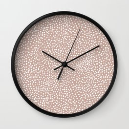 Little wild cheetah spots animal print neutral home trend warm dusty rose coral Wall Clock
