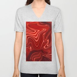 Marble Bloody Red Design Art Unisex V-Neck