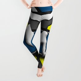 Blue and Yellow Wakeboard Rider Stunt Sports Design Leggings