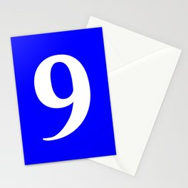 9 (WHITE & BLUE NUMBERS) Stationery Cards