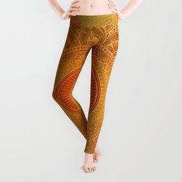 """Savanna Orange-Gold Mandala"" Leggings"