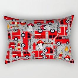 Kids Firetruck Dalmatian Dog Firefighter Pattern Gray Rectangular Pillow