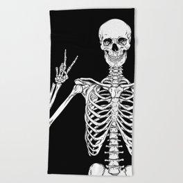 Human skeleton posing isolated over black background vector illustration Beach Towel