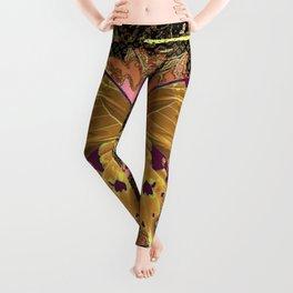 Ornate Mauve Swallow Tailed Butterfly Yellow-Khaki Design Leggings