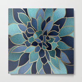 Festive, Floral Prints, Navy Blue, Teal and Gold Metal Print