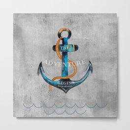 Maritime Design- Nautic Anchor Navy Marine Beach Metal Print