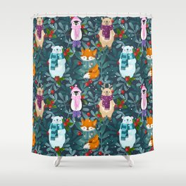 Funny animals. Merry Christmas! Shower Curtain