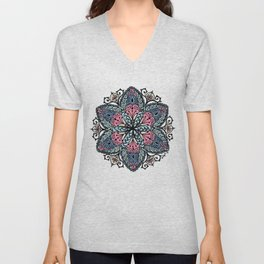 Mandala pink and blue Unisex V-Neck