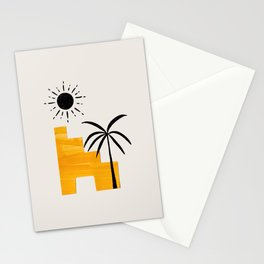 Minimalist Minimal Mid Century Abstract Middle Eastern Ancient Ruins Palm Tree Sun Stationery Cards