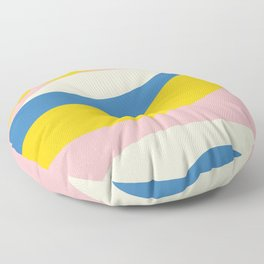 Wavy Abstraction in Blue, Pink, and Mustard Yellow Floor Pillow