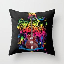 Bass Guitar Color splash Throw Pillow