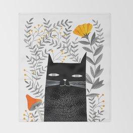black cat with botanical illustration Throw Blanket