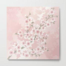 Vintage Floral Cherry Blossom Metal Print
