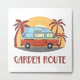 Garden Route  TShirt Vintage Caravan Shirt Travel Road Gift Idea Metal Print