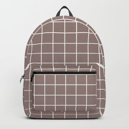 Cinereous - violet color - White Lines Grid Pattern Backpack