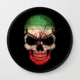 Dark Skull with Flag of Iran Wall Clock