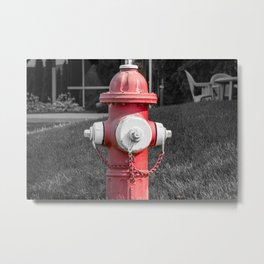 Faded Red and White Mueller Super Centurion Fire Hydrant Selective Color Fireplug Metal Print
