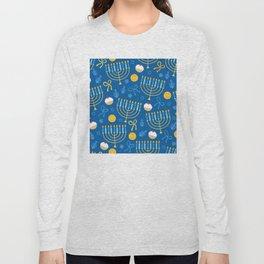 Hanukkah Menorah Pattern Long Sleeve T-shirt