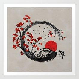 Zen Enso Circle and Sakura Branches Art Print