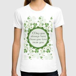 Irish Blessing Shamrock Background T-shirt