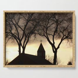 Silhouette of a Church Steeple Serving Tray