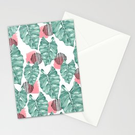 Watercolor tropical leaves abstract Stationery Cards